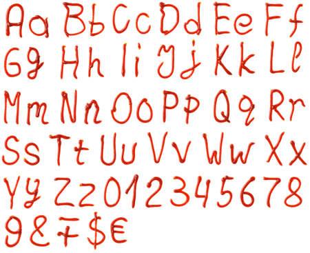 salsa de tomate: letras del alfabeto a base de salsa de tomate