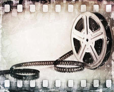 grunge scratched dirty film strip, film reel background