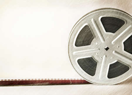 celluloid film: Old scratched motion picture film reel