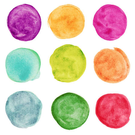 set of colorful watercolor circle. Design elemnts 免版税图像