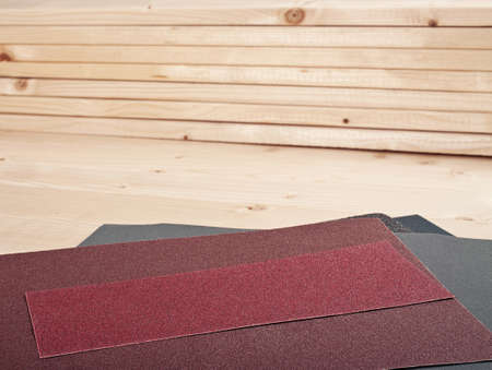 sandpaper on wooden planks for your woodwork