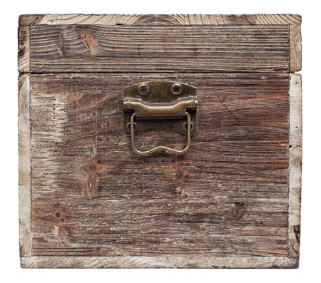 old wooden chest is isolated on white Stock Photo