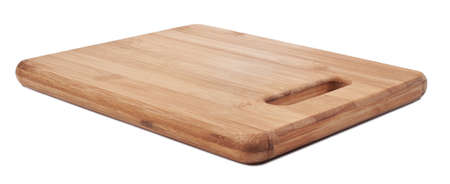 Brown cutting bamboo board used for cooking. Wood texture. photo