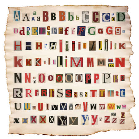 Colorful alphabet letters made of newspaper, magazine Stock Photo