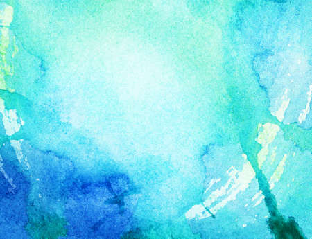 watercolour painting: Painted blue watercolor background  Stock Photo