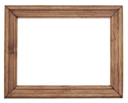 Vintage wooden frame is isolated on white Standard-Bild