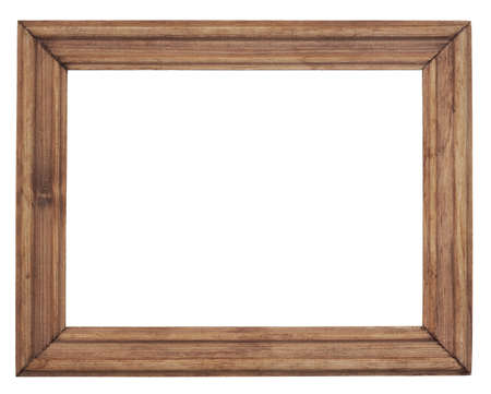Vintage wooden frame is isolated on white 免版税图像