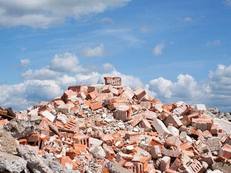 rubble: Concrete and brick rubble derbis on construction site