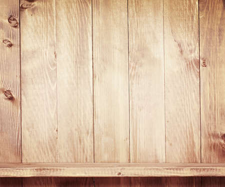 Empty shelf on wooden background  Wood texture  photo