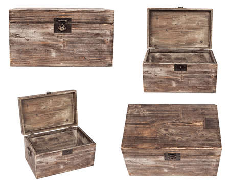 set of old wooden chests are isolated on white photo