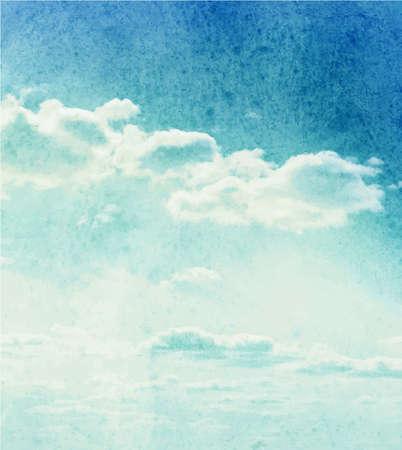 푸른 수채화 구름과 하늘 배경 일러스트