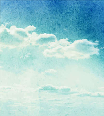 Blue watercolor clouds and sky background