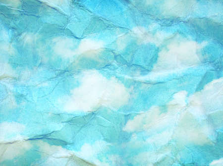 creasy: Vintage clouds and sky painted on crumpled paper texture. Stock Photo