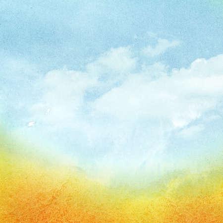 Cloudy watercolor sky with orange sun rays. Standard-Bild