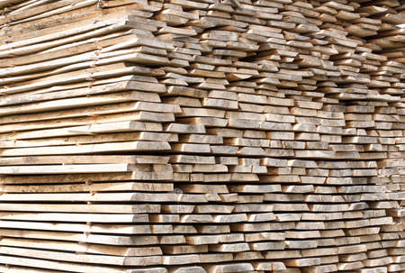 forestry industry: Stack of wood planks for construction buildings and furniture production  Stock Photo