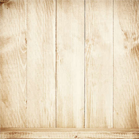 aged wood: Old brown wooden planks texture with shelf  Vector wooden background
