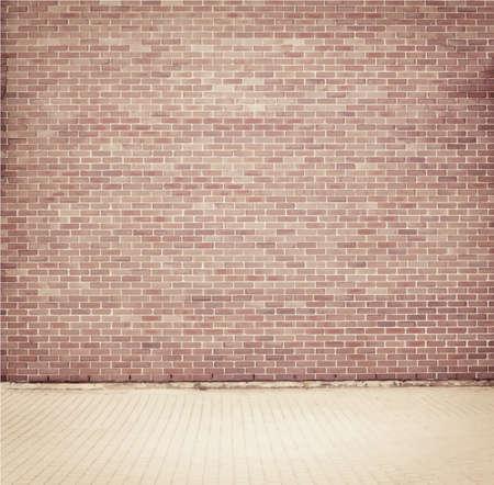 brick wall: Brick grunge weathered brown wall background with walkway