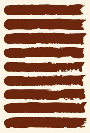 pictured: Set of hand drawn brush strokes.