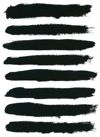 paint brush: Set of watercolor hand paint brush strokes are isolated on a white background.