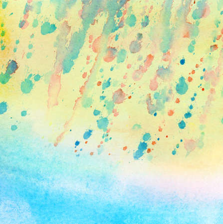 leak: Abstract light colorful watercolor painting with stain and leak.