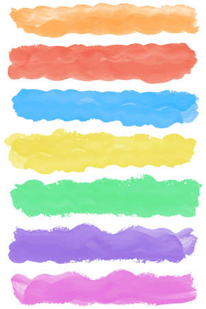 Set of colorful watercolor paint brush strokes with space for text. Can be used for workflow layout, menu, web design