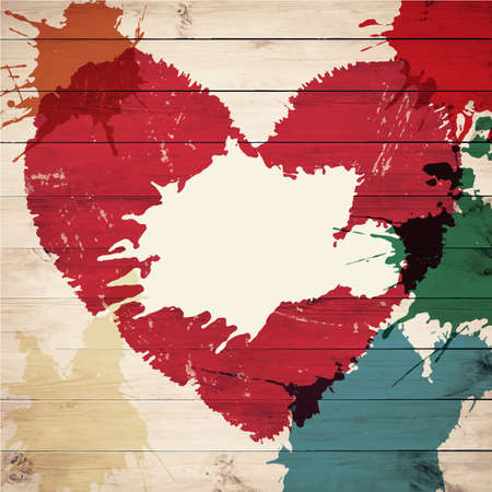 Old wooden background with Valentine\ Vector