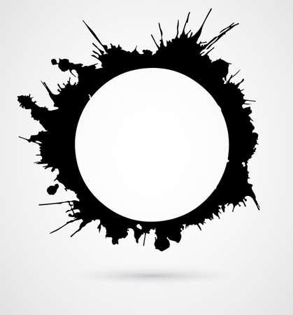 Negro pinceladas redondas, hechas de tinta salpica con sombra gris. Ilustración vectorial