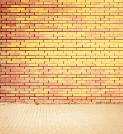 walkway: Light colorful brick wall texture with walkway. Vector illustration