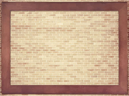 walkway: Light brown brick wall texture with wooden frame Illustration