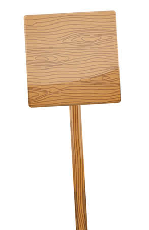wooden post: Wooden sign post on white background. Vector illustration