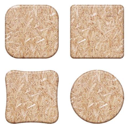 chipboard: Set compressed light brown wooden chipboard texture