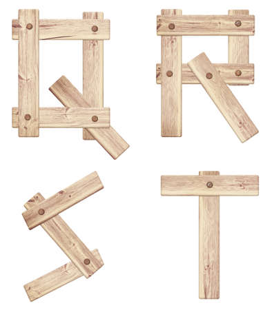 Old wooden alphabet letters are made of wood planks and nailed. photo