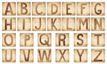 cartas antiguas: Letras del alfabeto madera bloques son de madera rayado.