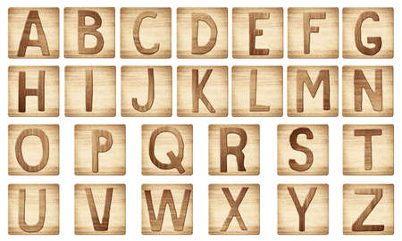 old letters: Wooden alphabet letters blocks are made of scratched wood.