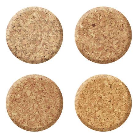 corcho: Conjunto de corcho del vino aislado en el fondo blanco