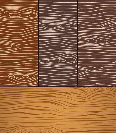 Set brown wooden planks texture Vector