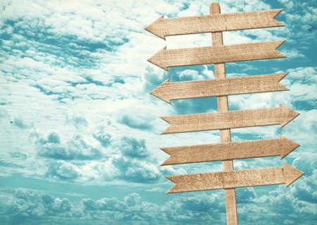 Blank brown wooden signpost, arrows against blue sky. Add your own text to the arrows
