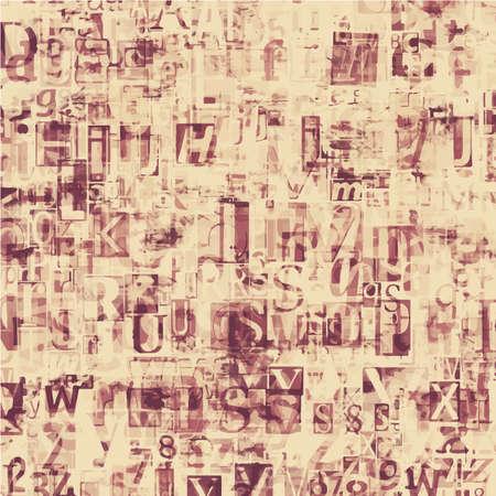 newsprint: newspaper, magazine collage grunge letters background Illustration