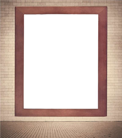 Brown Wooden Frame With White Copy Space Hanging On Brown Brick ...
