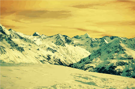 hill top: Winter snow covered Alpine mountain.