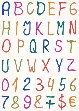 Set of alphabet letters with numbers and other symbols, Vector illustration Vector