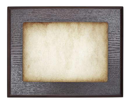 Vintage wooden frame on old paper. Vector illustration. illustration