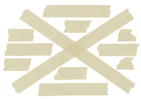 torned: Set of cross adhesive tape. Vector illustration