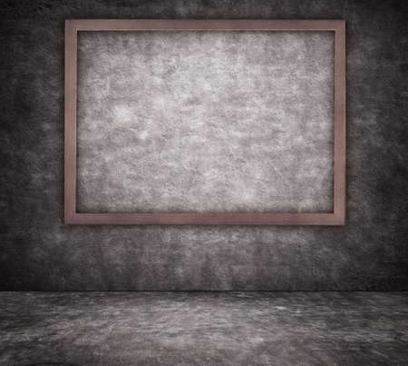 footway: Black cracked concrete wall texture with sidewalk and picture frame Stock Photo