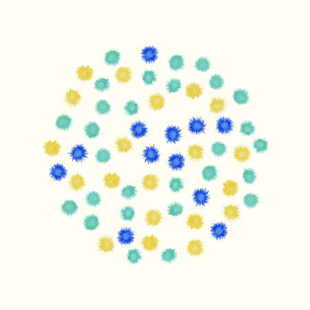 bloom: Colorful watercolor circle painted from small blue and yellow splashes, like flower bloom. Vector