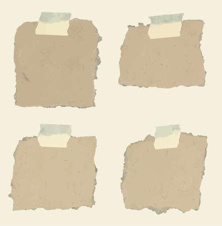 sticky tape: Conjunto de varios papeles de nota Textura de los con adhesivo, cinta adhesiva sobre fondo marr�n. Vectores