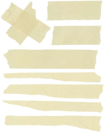 torned: Set of horizontal and different size sticky tape,adhesive pieces Illustration