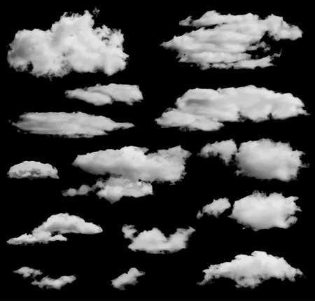 fog: Set of isolated clouds over black. Can be used as speech bubble