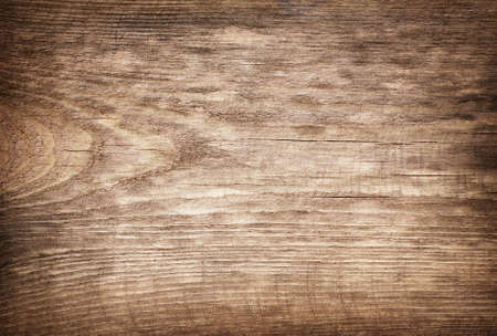 empty board: Brown scratched wooden cutting board. Stock Photo