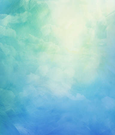 Clouds and sky on blue watercolor background